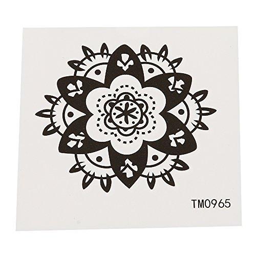 Tatuaje pequeño de flor en punta, decorado en blanco y negro, 1 lámina individual