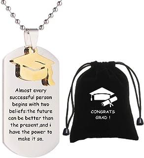KBNSUIAN Inspirational Graduation Gifts for Women Men Graduates Military Necklace Pendant Jewelry Class 2021 Graduating Ce...