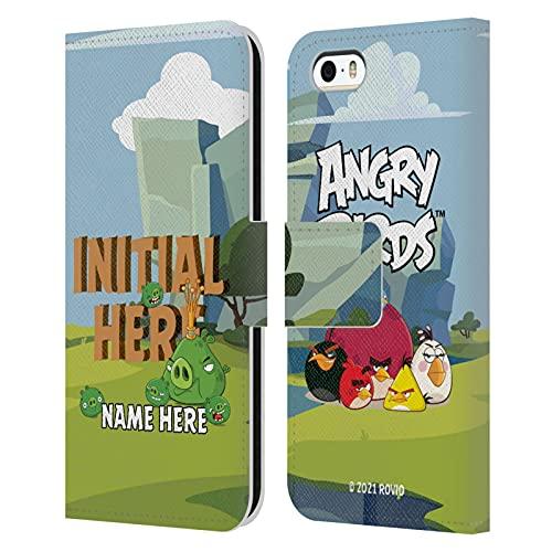 Head Hülle Designs Offiziell Zugelassen Personalisierte Persönliche Angry Bird Holzbrief Kunst Leder Brieftaschen Handyhülle Hülle Huelle kompatibel mit Apple iPhone 5 / iPhone 5s / iPhone SE 2016