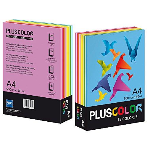 Plus Office couleur 002210–Papier, 500feuilles, 80g, 15couleurs, A4