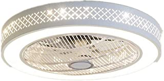 Ceiling Fan with Lights, Invisible Acrylic Blade Metal Shell Ceiling Light Fan,55cm LED Remote Control 3-Color Mode Lighting Fan (White)