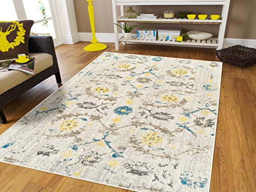 Contemporary Modern Distressed Cream Area Rugs 8x10 Carpet Cream Blue Yellow Beige Brown Rug for Living Room on Clearance