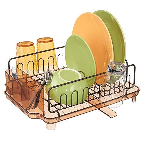 mDesign Escurridor de platos con bandeja de goteo - Rejilla escurreplatos para encimera o fregadero - Secaplatos de metal y plástico con desagüe giratorio - plateado mate y transparente