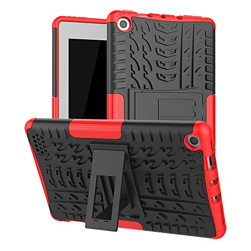 Maomi for K i n d l e F i r e 7 case 2019 2017 Released 9th/7th Generation,Kickstand Heavy Duty Cover (Red)