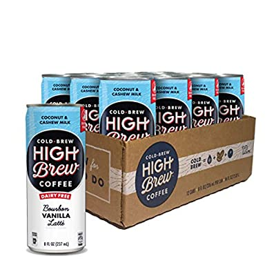 High Brew Coffee High Brew Cold Brew Coffee Bourbon Vanilla Latte, 8 Oz Can, 12Count