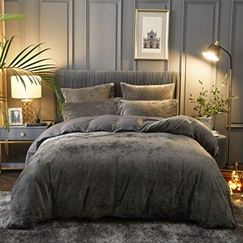 PHF Lightweight Velvet Duvet Cover Set, Queen(90' x 92'), Button Closure, 8 Corner Ties, 3 Pieces, Soft, Breathable, Solid and Luxurious Bedding, Dark Grey