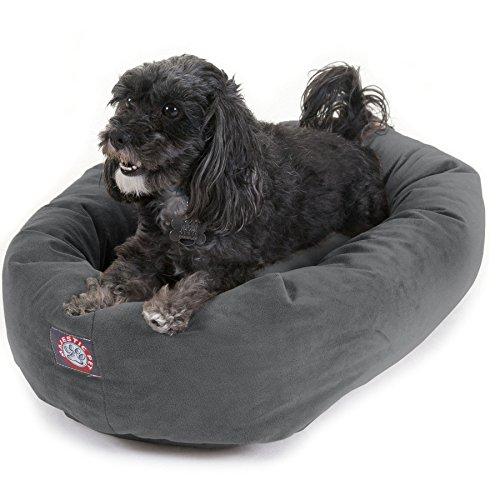 "Majestic Pet 24"" Gray Velvet Bagel Dog Bed Now $13.81 (Was $74.00)"