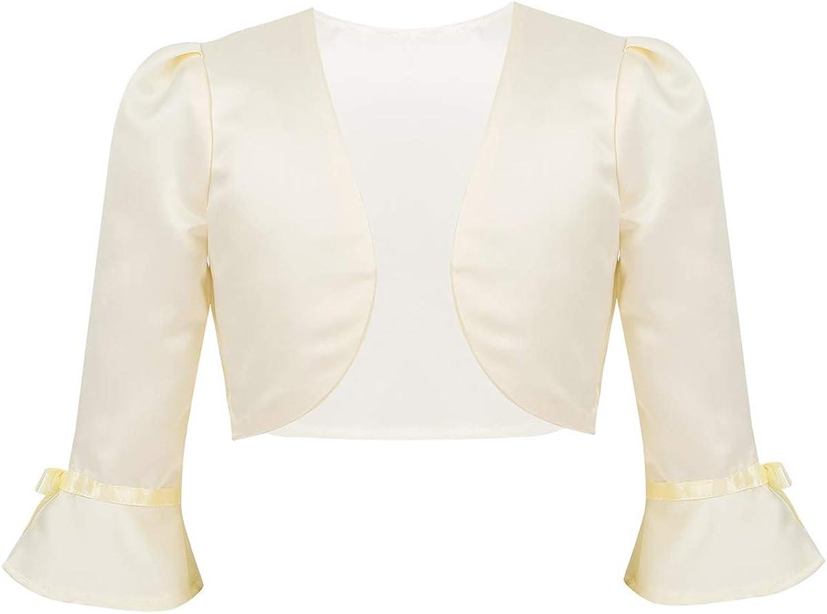 FEESHOW Kids Flower Girls 3/4 Flare Sleeve Bolero Shrug Short Jacket Cardigan Wedding Dress Cover Up