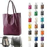 modamoda de - T163 - Ital. Shopper mit Innentasche aus Leder, Farbe:Rot - 4