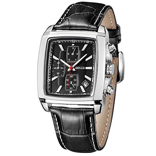 Relojes para Hombre Moderno, Reloj Rectángulo All Black, Relojes Militar Cuero Negro con Calendario Reloj de Pulsera de Cuarzo para Hombres, Resistente al Agua