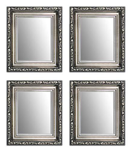 28 x 23 cm Kleine Dekorative Spiegel Paket 4 Stück Alte Spiegel, Handgefertigte, Stabiler Rückwand, Rahmenleiste: 60 mm breit und 45 mm hoch, Rahmen Farbe: Gold, Silber