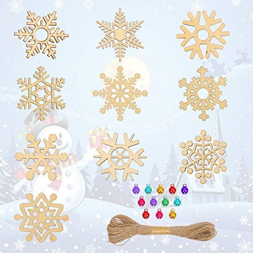 LAITER Juego de Decoración Navideña 80 Copo de Nieve Calado Y 80 Campanas Navideñas de Colores Y 1 Adornos de Cuerda de Cáñamo Para Ventana Arbol de Navidad Adornos Colgantes Para Jardín