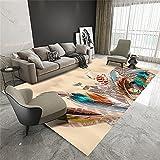 Alfombra Antideslizante Cocina Alfombra Niña Habitacion Coloreado rectangular sala de estar alfombra con estampado de plumas vívido y hermoso, lavable a máquina con la deformación ahora 80x160cm Alfom