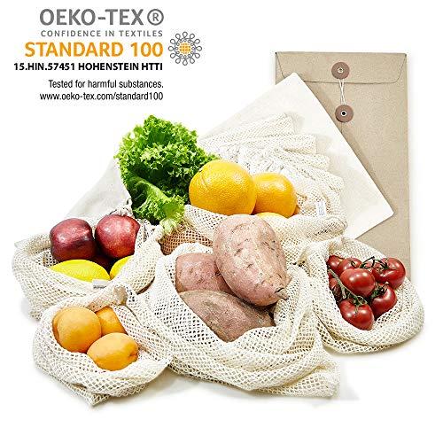 achilles 6er Set Obst- und Gemüsebeutel Obst-Beutel Gemüse-Netz mit Gewichtsangabe 100% Baumwolle pestizidfrei Ökotex Standard 100 LFGB geprüft SGS Zertifikat Nr. TC6176