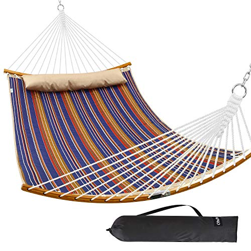 Ohuhu Double Hammock Quilted Fabric Swing with Detachable Pillow, 2019 All New Curved-Bar Design...