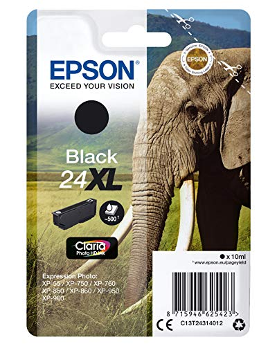 Epson Original 24XL Tinte Elefant (XP-750 XP-850 XP-950 XP-55 XP-760 XP-860 XP-960 XP-970, Amazon Dash Replenishment-fähig) schwarz