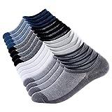 No Show Men Socks Low Cut Ankle Sock, 8 Pairs Mens Short Socks Casual Cotton Non-Slip Athletic Loafers Socks Men Size 11-13
