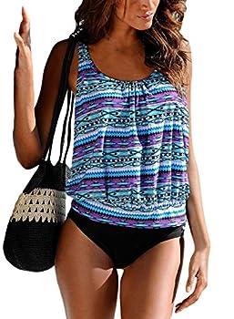 Happy Sailed Women Plus Size Two Piece Floral Print Tankini Swimsuit Bathing Suit Large Purple