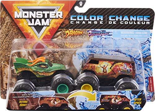Monster Jam, Official Dragon vs. Thunder Bus Color-Changing Die-Cast Monster Trucks, 1:64 Scale