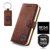 SURAZO Handy Hülle Für Huawei P20 Pro - Pfote - TV RFID Nubuk Nussbraun - Ölleder Premium - Vintage Wallet Case
