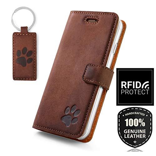 SURAZO Handy Hülle Für Samsung Galaxy A20e - Pfote - TV RFID Nubuk Nussbraun - Ölleder Premium - Vintage Wallet Case