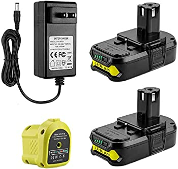 Powilling 2Pack 3.0Ah 18V Ryobi Lithium Replacement Battery for Ryobi 18V Lithium Battery ONE+ P102 P103 P104 P105 P107 18-Volt Cordless Tools Battery Include Charger