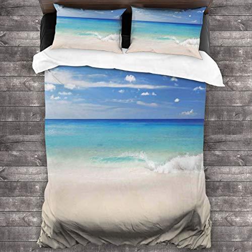 Set di biancheria da letto in 3 pezzi, stile tropicale Haven, sabbia e mare con onde che fuga al paradiso, set copripiumino in morbida microfibra, 1 copripiumino (21,6 x 177,8 cm) e 2 federe (50 x 76,2 cm)