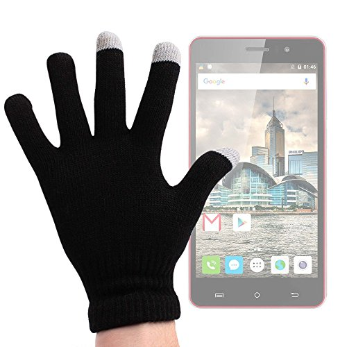 DURAGADGET Guantes Negros para Pantalla Táctil para Smartphone Cubot Rainbow   Dinosaur   Intex Aqua Shine - Talla Grande - ¡Ideales para El Invierno!