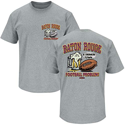 Louisiana Football Fans. Baton Rouge Drinking Town Gray T-Shirt (Sm-5X) (Short Sleeve, 4XL)