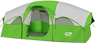 CAMPROS Tent-8-Person-Camping-Tents, Waterproof Windproof Family Tent, 5 Large Mesh Windows, Double Layer, Divided Curtain for Separated Room, Portable with Carry Bag, for All Seasons