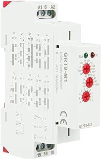 Interruptor de Relé de Retardo de Tiempo AC 220V GRT8-M1 Montaje en Carril DIN Multifuncional 10 Funciones Indicadores LED para Equipos Industriales