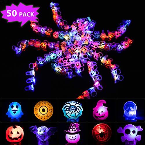 Joyjoz Halloween Party LED Fingerlichter 50PCS, Leuchtspielzeug LED Ringe Halloween-Party Glow Ring Spielzeug Halloween-Party-Zubehör für Kinder Erwachsene