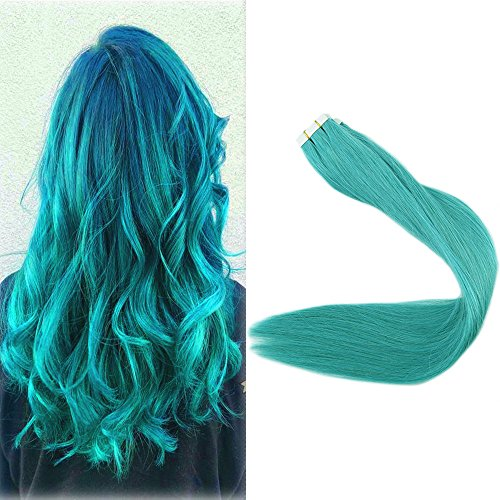 Full Shine 18 Inch Glue In Hair Extensions Pu Tape Ins 25 Gram 10 Pieces Color Teal Pu Tape Ins Skin Weft Human Hair For Party Colorful Teal Tape Extensions