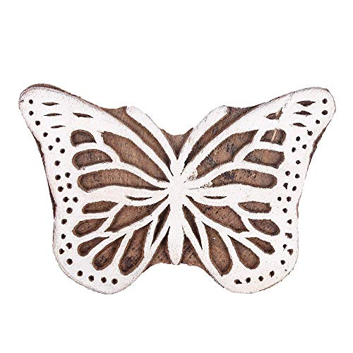 GroupB Wooden Printing Blocks – Hand Carved Wood Stamp Made from Wood with Butterfly Design for Fabric Printing, Clay Pottery, Crafts, Body Tattoo, Scrapbook Print and More – Design26