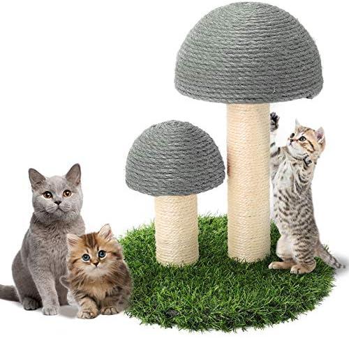 Powerking Chat griffoir Champignon assemblable Kitty Chat Griffe grattoir Corde de Sisal recouvert de pelouse Douce et LisseCoussin de Planche224; gratter Mignon pour Cadeau de Chat Gris