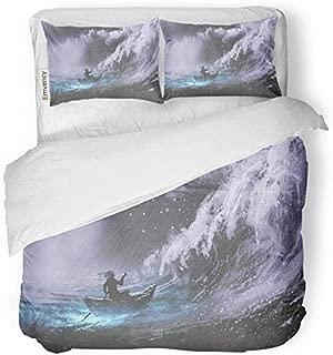 Juego de funda nórdica de decoración Hombre remando en un bote mágico en el mar tempestuoso con ondas de pícaro Pintura de estilo digital Juego de ropa de cama con estampado de tela de microfibra cepi