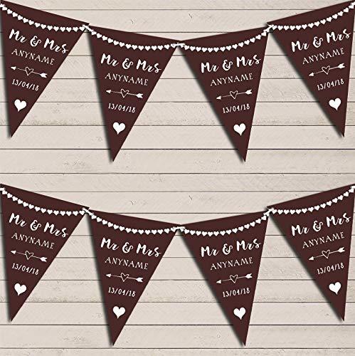Hart Mr & Mevrouw Chocolade Bruin Bruiloft Dag Gehuwd Bunting Party Venue Decoratie Partij Vlag Banner Small