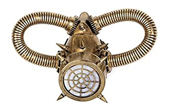Steampunk Gas Mask Respirator Spike Tube Antique Color Halloween Party Cyber  Gold
