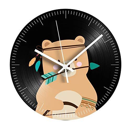 HHKLSF Reloj De Registro De Vinilo De Oso Pardo De Dibujos Animados...