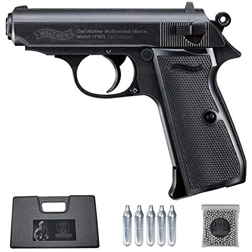 Ecommur. Walther PPK/s blowback   Pistola de perdigones (Bolas BB's de Acero) de Aire comprimido semiautomática 4,5mm + maletín + balines y CO2