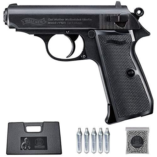 Ecommur. Walther PPK/s blowback | Pistola de perdigones (Bolas BB's de Acero) de Aire comprimido semiautomática 4,5mm + maletín + balines y CO2