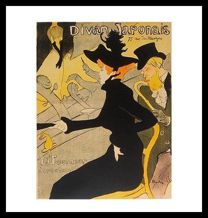 Germanposters Henri Toulouse-Lautrec Divan Japonais Poster Bild Kunstdruck im Alurahmen schwarz 48x46cm