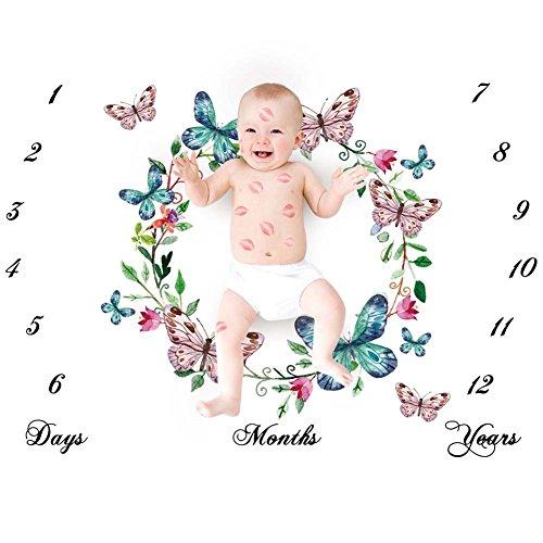 iKulilky Couverture Bébé Couronne Nouveau Née Couverture de Props de Photographie Baby Props imprimé Coton Mensuel Milestone Wrap Swaddle Couvertures Cadeau de Shower de Bébé