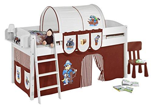 Lilokids Spielbett IDA 4105 Pirat Braun Beige-Teilbares Systemhochbett weiß-mit Vorhang Kinderbett, Holz, 208 x 98 x 113 cm