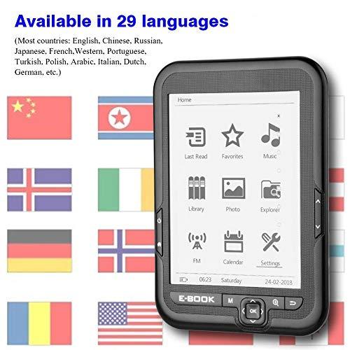 6 Pulgadas Lector de E-Book Portátil de Pantalla Electrónica de Tinta de Alta Resolución, con 29 Idiomas para Elegir, Mejor Reflectividad y Contraste con un Menor Consumo de Energía(Negro (4G)) miniatura
