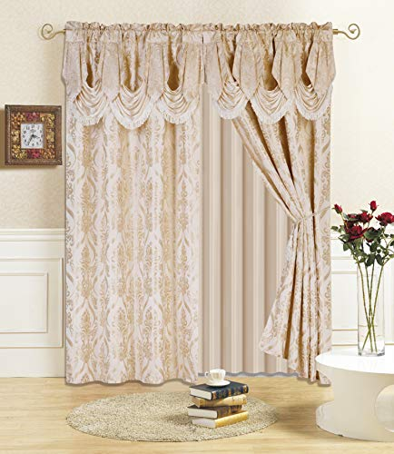 """All American Collection New 4 Piece Drape Set with Attached Valance and Sheer with 2 Tie Backs Included (84"""" Length, Beige)"""