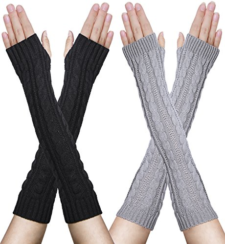 Oryer Womens Winter Knit Long Fingerless Gloves Thumbhole Arm Warmers Mittens
