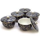 九谷焼 蓋付 湯のみ 5客セット 青粒鉄仙 陶器 和食器 来客用 湯呑み茶碗 日本製 k6-0756