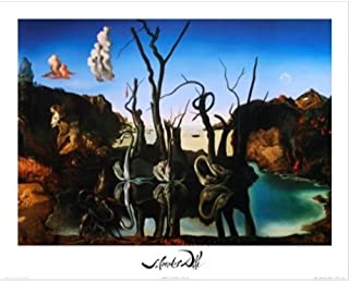 Buyartforless Swans Reflecting Elephants by Salvador Dali 20x16 Art Print Poster Famous Painting Surrealism