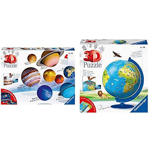 Ravensburger 3D Puzzle Planetensystem für Kinder ab 7 Jahren - 8 Puzzleball-Planeten als Sonnensystem Modell mit Poster & 3D Puzzle 11160 - Kinderglobus in Deutscher Sprache - 180 Teile